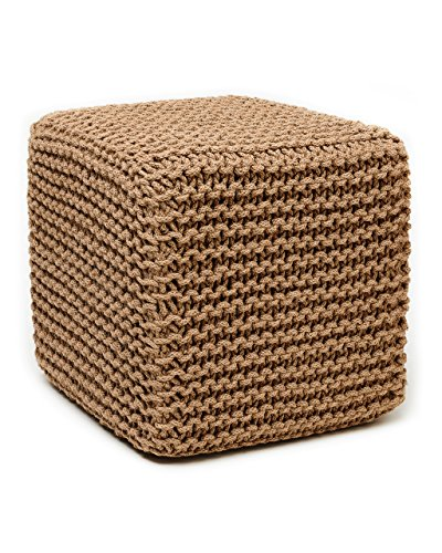 Anji Mountain AMB0001-1818 Square Jute Pouf, Natural, 18 x 18-Inch by Anji Mountain