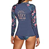 Roxy Sunset And Waves Long Sleeve Lycra Rashguard 6 Reg Crown Blue Flower Games