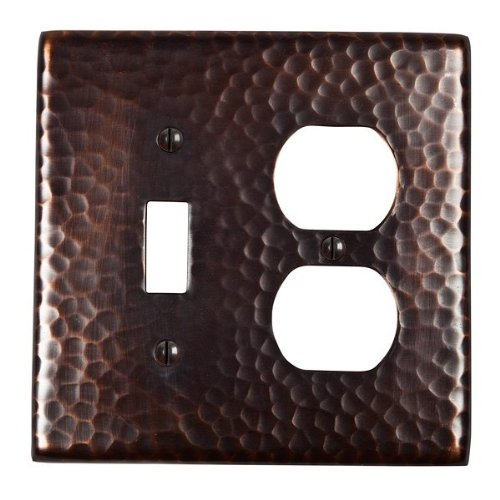 Hammered Toggle Square - The Copper Factory CF126AN Solid Hammered Copper Single Switch and Duplex Receptacle Combination Plate, Antique Copper Finish