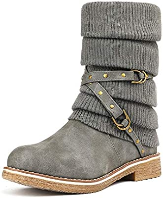 Image result for dream pairs women's mid calf fashion winter snow boots gray