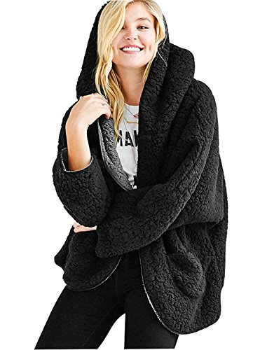 (Choies Women's Black Reversible Faux Fur Winter Cardigan Hooded Coat 2XL)