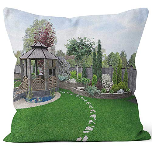 Nine City Alfresco Living Area Throw Pillow Cushion Cover,HD Printing Decorative Square Accent Pillow Case