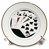 3dRose Alexis Photo-Art - Poker Hands - Poker Hands Royal Flush Clubs - 8 inch Porcelain Plate (cp_270297_1)