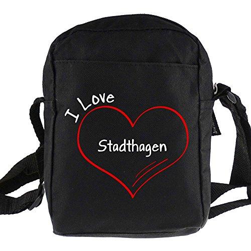 Umhängetasche Modern I Love Stadthagen schwarz