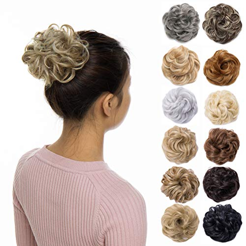 Scrunchy Updo Hair Bun Clip Messy Donut Chignons Synthetic Wavy Straight Hairpiece Hair Extension (light ash brown to bleach blonde, 1PC)