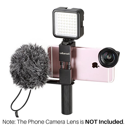 Ulanzi Pocket Rig for Smartphones with Boya BY-MM1 Shotgun Microphone and 49 LED Video Light Cold Shoe Plate for iPhone Filmmaking Professional Videography (Shotgun Video)