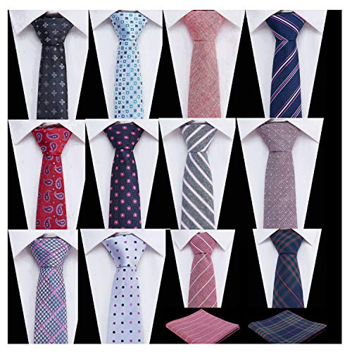 Men's Ties,Tsheoul Noted Lot 12 PCS Classic Cotton Plaid+Printed Floral+Pure Color+Striped Skinny Necktie & 2 PCS Pocket Square - Multiple Sets (2.5
