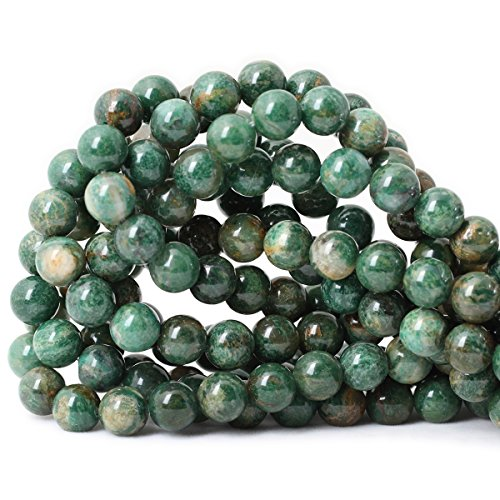 Jade Beads Necklace Earring - Qiwan 35PCS 10mm Natural African Jade Round Loose Stone Beads for Bracelet Necklace Earrings Jewelry Making Crafts Design Healing 1 Strand 15