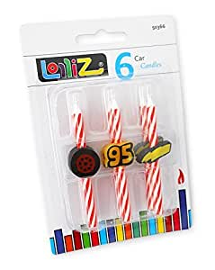 LolliZ Birthday Candles Race Car Theme. Pack of 6. Red / White Stripes