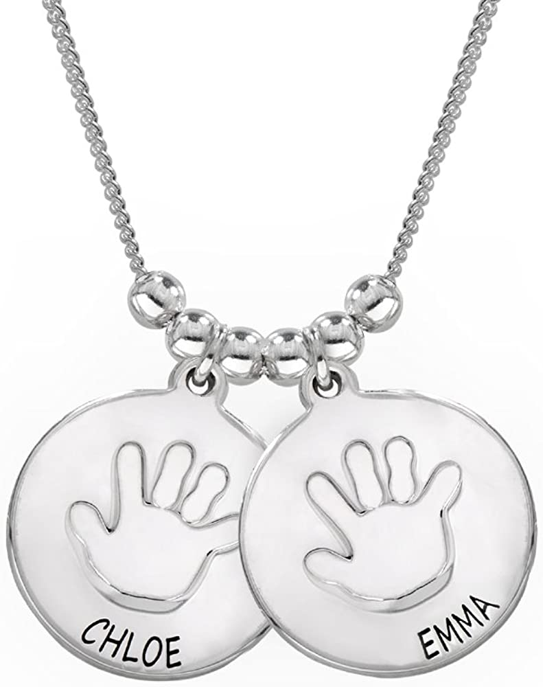 Custom Made with Any Name Sterling Silver Three Discs Necklace for Mothers with Baby Handprint