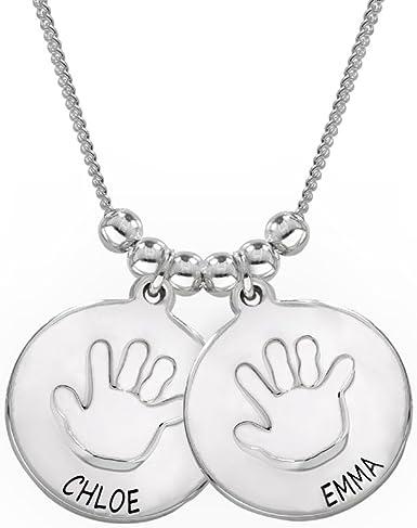 Little hand print necklace 2 discs.