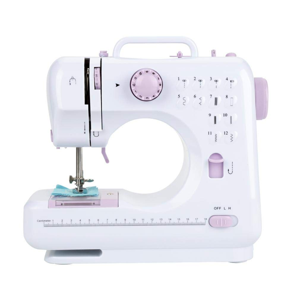 Portable Electric Sewing Machine,Mini Electric Sewing Machine Semi-automatic Portable 2 Speeds Double Thread, Embroidery,Foot Pedal Best Beginner US Plug 110V-220V Walfront