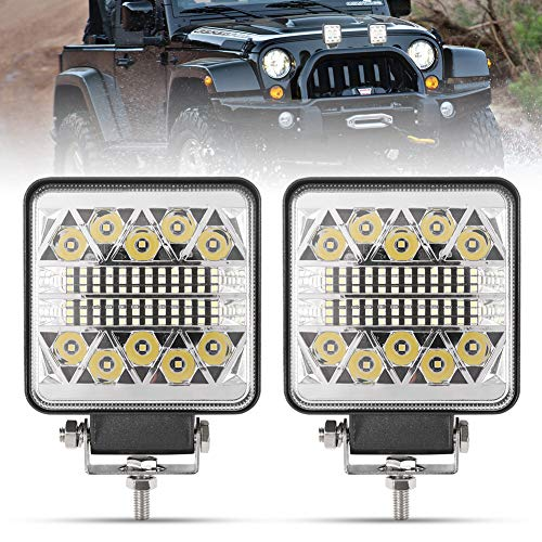 4 Inch LED Work Lights - 2Pcs 15000LM LED Pods - CREE LED Spot Flood Combo Beam Light Bar - Driving Light for Truck ATV UTV SUV Boat Tractor, 1 Year Warranty