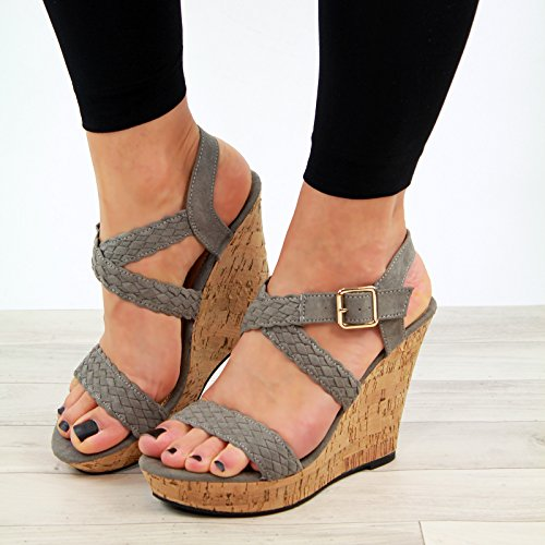 Larena Fashion New Womens High Wedge Heel Platform Sandals Ankle Strap Peep Toe Shoes Sizes 3-8 Grey fSoHvp