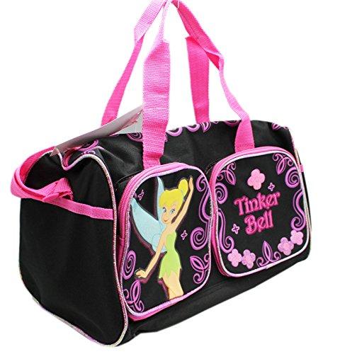 Disney's Tinker Bell Black/Pink Floral Pattern Girls Duffle Bag