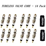 Z&D Valve Presta Valve Core(12 - PACK ) And 2 Anodized Alloy Presta Valve Caps For Tubeless Road & MTB Bike Works w/ Stan's, Vittoria, Continental, Kenda & MORE( Sliver )