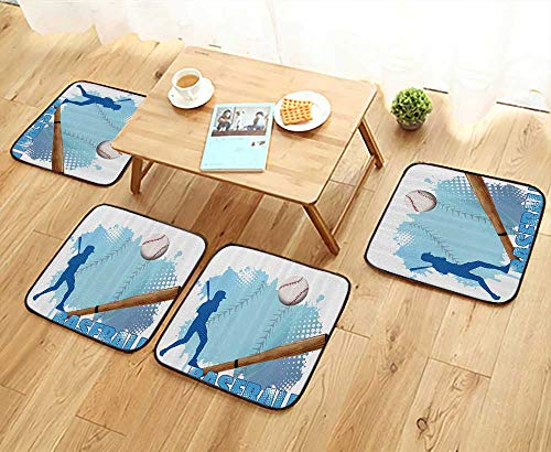 Printsonne Elastic Cushions Chairs Silhouette of Baseball Player with Basic Game ICS Kicking with Sports for Living Rooms W29.5 x L29.5/4PCS Set by Printsonne (Image #5)
