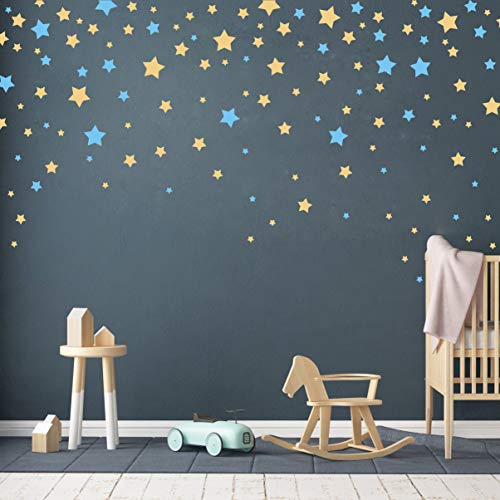 190 Picees Star Wall Decals, Matte Vinyl Wall Decals, Nursery Wall Decals, Easy to use, Removable Wall Decals for Kids Baby Girls Boys Bedroom, Home Decor Wall Stickers(Y17) (Ice Blue,Matte Gold)
