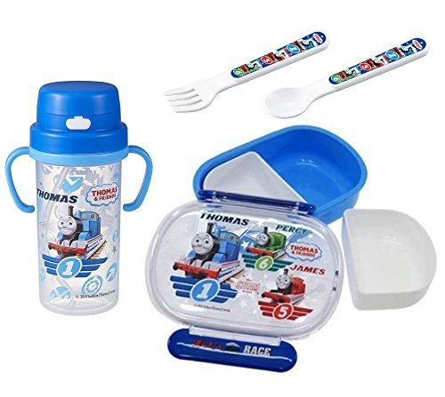 4 Thomas the Tank Engine Products - Bottle with Handles, Lunch (Bento) Box, Spoon and Fork (Japan Import)
