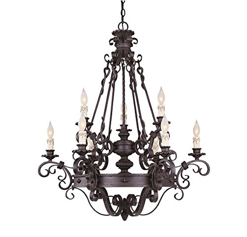 Savoy House 1-4315-9-17 Bourges 9LT 2-Tier Chandelier, Forged Black