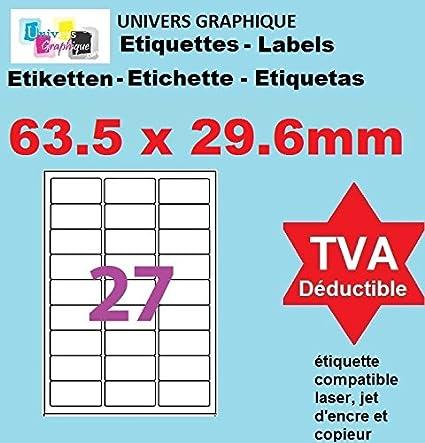 50 A4 hoja de etiqueta de papel etiqueta adhesiva 27 63,5 X ...