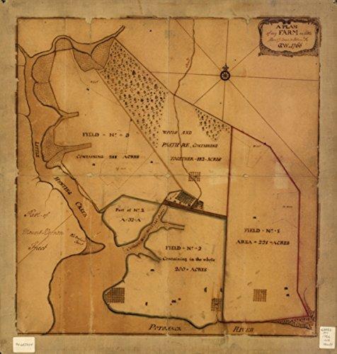 1766 Map Virginia, Mount Vernon Estate A plan of my farm on Little Huntg. Creek