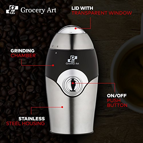 [Upgraded] Electric Coffee Grinder Blade Mill - Small & Compact Simple Touch Automatic Grinding Tool Appliance for Whole Coffee Beans, Spices, Herbs, Pepper, Salt & Nuts - Great Coffee Gift Idea! by Grocery Art (Image #8)