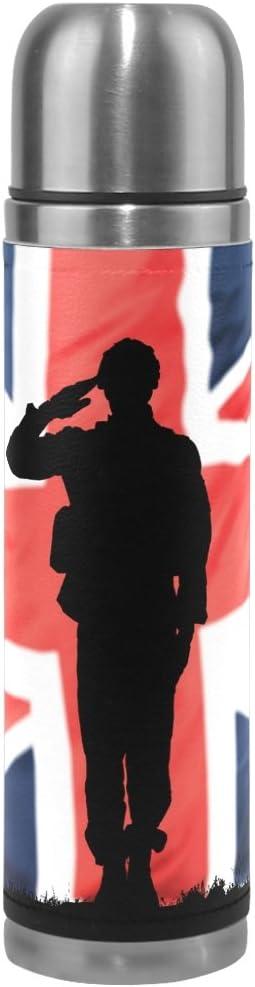 ALAZA Reino Unido Soldado 17oz doble pared vacío aislado botella de agua de acero inoxidable termo de piel envuelto Cubierta