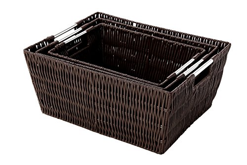 Juvale Storage Baskets - 3-Piece Nesting Baskets, Brown Wicker Storage Containers - Storage Bins Set - Decorative Organizing Baskets for Shelves, Kitchen, Bathroom, and Bedroom - Small, Medium, ()