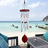 CHICHIC Wind Chimes Outdoor, 26 Inch Large, MemorialWind Chimes Outdoor, Deep Tone with 6 Metal Tuned Tubes for Garden Yard Patio Porch Decor Backyard, Solidly Constructed