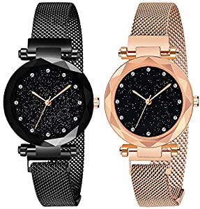 Acnos Black Round Diamond Dial with Latest Generation Purple & Rosegold Magnet Belt Analogue Watch for Women Pack of - 2 (DM-PURPLE-ROSEGOLD05)