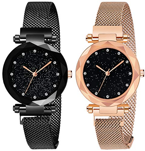 Acnos Black Round Diamond Dial with Latest Generation Purple & Rosegold Magnet Belt Analogue Watch for Women Pack of – 2…