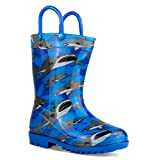 ZOOGS Children's Rain Boots with Handles, Little Kids & Toddlers, Boys & Girls, Blue (Camo), US 1Y