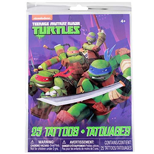 KidPlay Products Teenage Mutant Ninja Turtles Temporary Tattoos 25pc Set Party Favor -