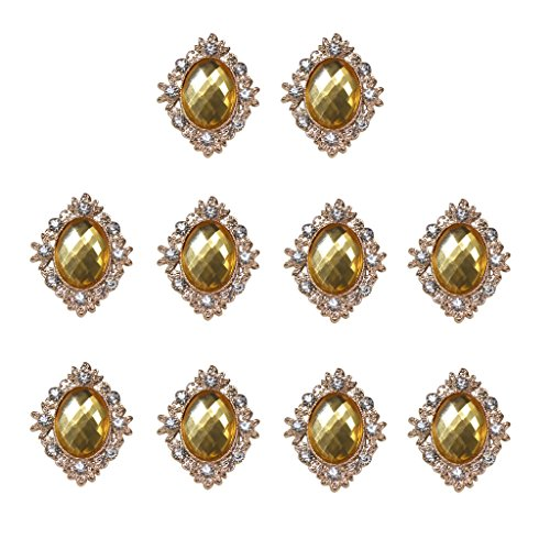 MagiDeal 10pcs Rhinestone Gems Cabochons Flat Back Embellishments Wedding Phone Decor - Gold Flat Back Buttons