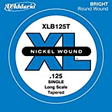 D'Addario XLB125T Nickel Wound Bass Guitar Single String, Long Scale, .125, Tapered