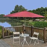 Tylor's Garden 9 Ft Tilt and Crank Outdoor Patio Umbrella with Aluminum Pole, UV Resistant, 100% Polyester, Burgundy