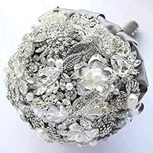 East Handmade Jewelry, Brooch Bouquet Wedding Bride Holding Flowers Silvery Gray Holding Wedding Flowers 61