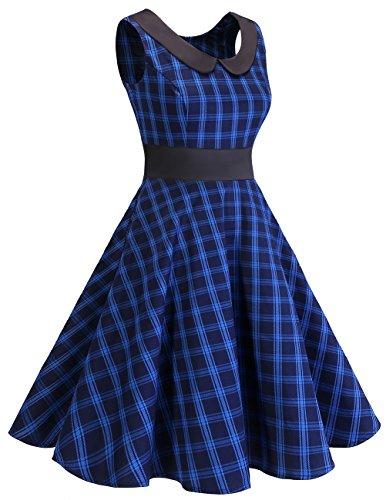 Rockabilly Mujer Corto Vestido Check Fiesta Retro Navy Dresstells Cóctel Vintage reg; Verano t6qEUPzw