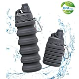 OUDORT Collapsible Water Bottle, BPA Free FDA Approved Silicone Drinking Bottle with Carabiner