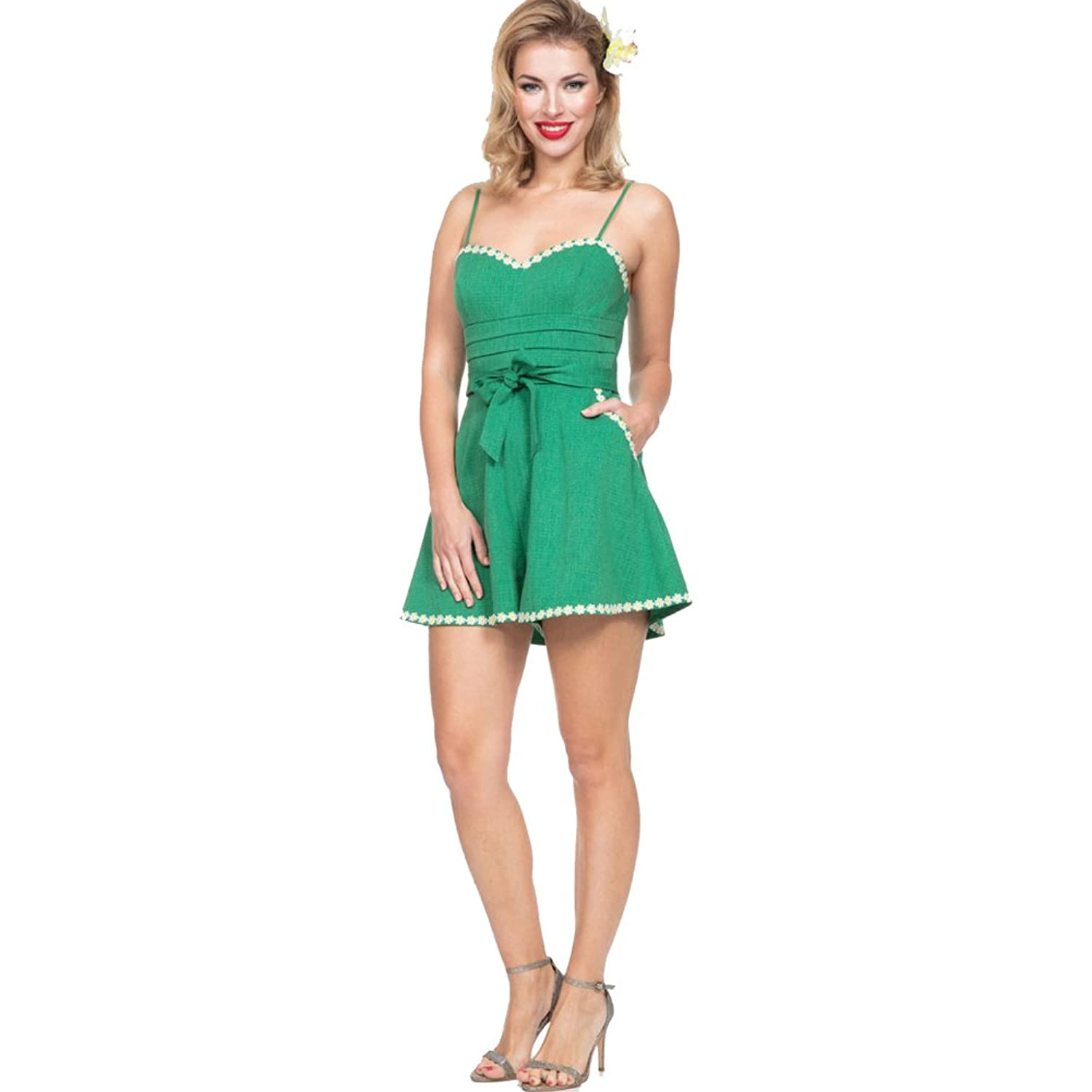 Vintage Rompers and Retro Playsuits Daisy Trimmed Playsuit Green $62.99 AT vintagedancer.com