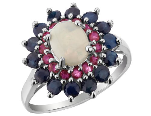 Blue Sapphire Ruby Ring - Blue Sapphire, Ruby, Created Opal Ring 3.00 Carats (ctw) in Sterling Silver