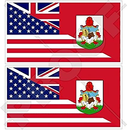 6 X 3 INCH BERMUDA  FLAG-SILVER LICENSED STICKER FLAG PLATE..SIZE
