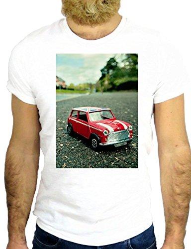 T SHIRT Z1103 MINI CAR PLAY NICE COOL VINTAGE 80 FUN LONDON UK UNITED HIPSTER GGG24 BIANCA - WHITE XL