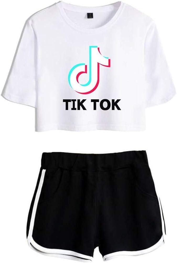 Kinder M/ädchen Print Crop Top Shorts 2 St/ück Kurzarm T-Shirt Top Und Shorts Set Sommer Trainingsanzug Alter 5 6 7 8 9 10 11 12 13 Jahre