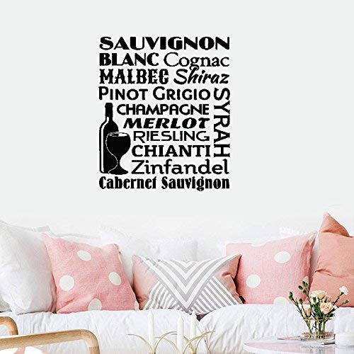 31x24 Wine Name Collage Sauvignon Blanc Cognac Malbec Shiraz Pinot Grigio Champagne Merlot Riesling Chianti Zinfandel Cabernet Kitchen Wall Decal Sticker Art Mural Home Decor Quote for Living Room