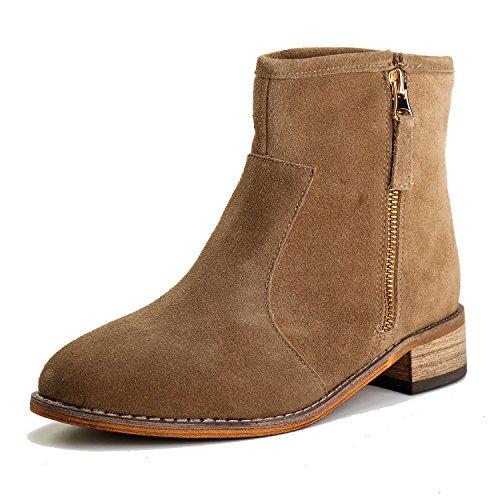 Mujer Alexis Leroy Cremallera Caqui Cuero Chelsea de con Botines Zapatos 8Cwqr84