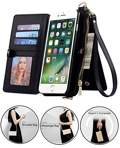 SINIANL iPhone 6 6S 7 8 X Plus Samsung Galaxy S8 Plus 2 in 1 Leather Zipper Wallet Multi-functional Handbag Detachable Clutch Case with Folio Flip Credit Card Holder Cover Buckle Purse ()