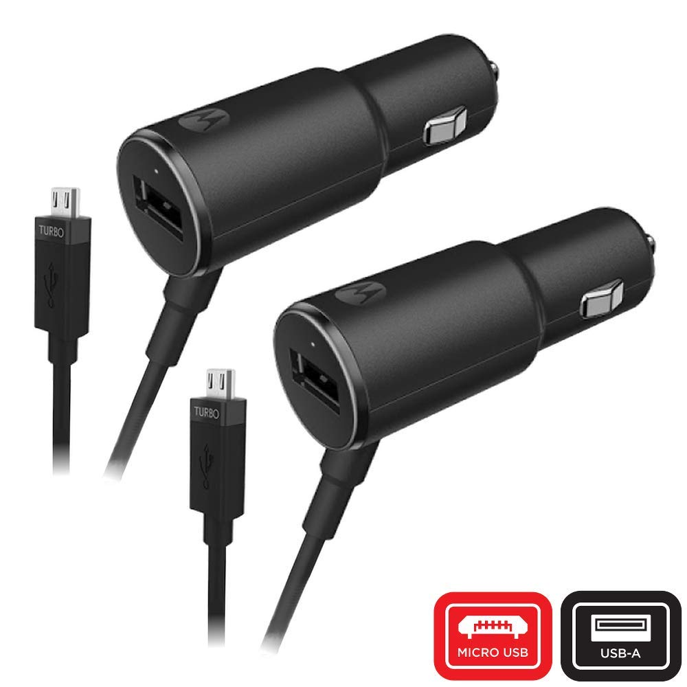 Motorola TurboPower 25 QC2.0 Micro-USB car Charger with Extra USB-A Port for Moto G3//G4//G5//G5S Micro USB Devices Retail Box Salom America Company MAIN-21635