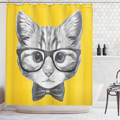 Ambesonne Animal Shower Curtain, Sketchy Hand Drawn Design Baby Hipster Cat Cute Kitten with Glasses Image Print, Fabric Bathroom Decor Set with Hooks, 70 Inches, Grey Mustard